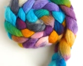 BFL Wool Roving - Hand Painted Spinning or Felting Fiber, Cold Sunny Morning