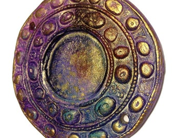 172. A Mayan Dream Wheel Copper Fuchsia Blue Primitive Faux Raku Disk Pendant