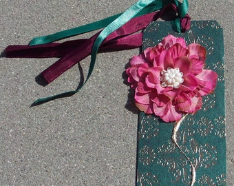large gift tag - hunter green with gold accents - burgundy flower -  upcycled earring