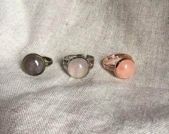 Rose Quartz ring, rose gold jewelry