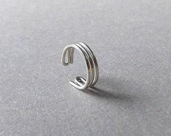 Simple Earcuff Silver Ear Cuff Triple Band Non Pierce Wrap Earring eco friendly Single Minimalist Jewelry