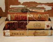 Tattered Antique Vintage Book Bundle Stack w/ Jewelry Heart Buttons Lace Paris Apartment Chic Shabby Decor Photography