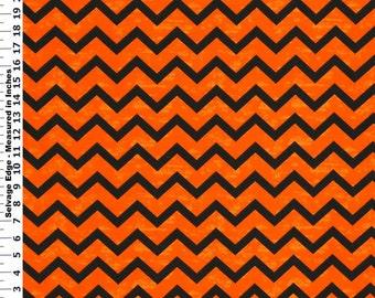 Halloween Orange and Black Chevron Fabric BTY