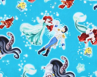 Disney Little Mermaid And Prince Eric Fabric by the yard