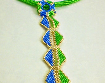 Colorful Statement Necklace  Green Blue Gold Jewelry  Romantic gift Aztec  Style