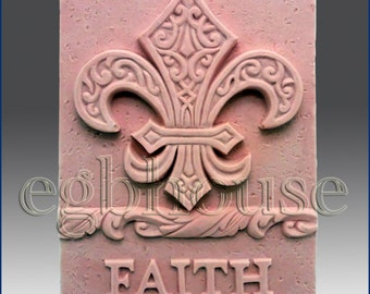 """2D Silicone Soap/plaster/clay/cold porcelain Mold-Fleur de Lis and Faith- """"Buy only from the original designer"""