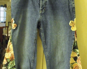 Not Your Mom's '70's Culottes/ Altered Jeans/ Embellished Culottes/ Sheerfab Funwear