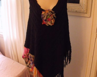 Poncho/Embellished/Black Sweater Knit/Cotton Floral and Fringe/Frilly Flower/ Sheerfab Funwear