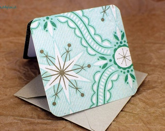 Blank Mini Holiday Set of 10 Cards, Vintage Snowflake Design with Contrasting Pattern on the Inside, Metallic Champagne Envelopes, mad4plaid