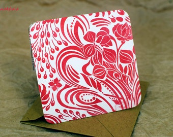 Blank MIni Holiday Set of 10 Cards, Red Floral Design with Contrasting Pattern on the Inside, Natural Kraft Envelopes, mad4plaid