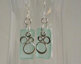 Aqua Blue Earrings, Sterling Silver Bubble Earrings, Sea Glass Earrings, Geometric Earrings, Summer Geometric Jewelry, Boho Beach Earrings
