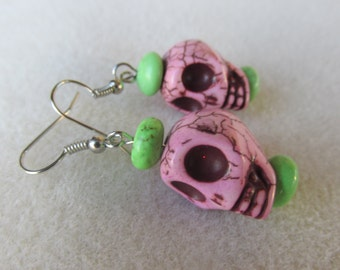 Pink skull earrings- day of the dead