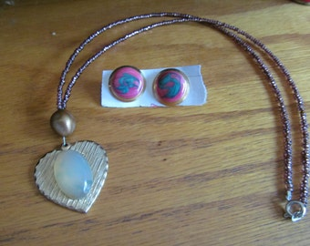 agate heart necklace plus
