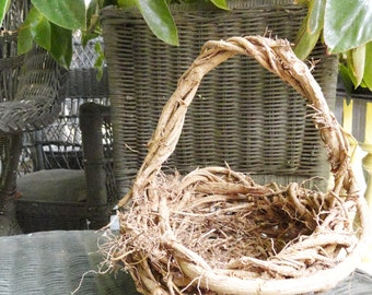 Flower Girl Basket, Shallow Open Dark Wicker Rustic Twig Basket, Chemical Pesticide Free Green Sustainable Eco Conscious Wedding, SOB