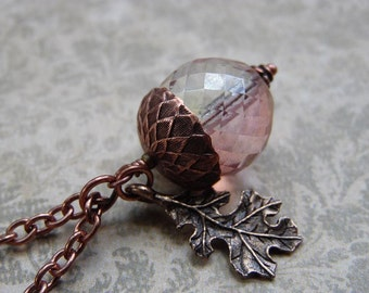 Nature lover Acorn Necklace with Sparkling Czech Glass, Antiqued Copper Chain and Oak Leaf Charm