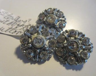 Vintage Buttons-3 matching beautiful,Possibly Sterling Silver, rhinestones 1950's silver metal (lot july 574)
