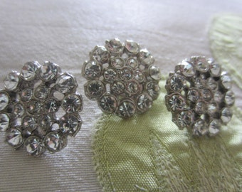 Vintage Buttons - 3, 3/4 inch beautiful flower design, silver finish metal, rhinestone embellished- (lot aug 82)