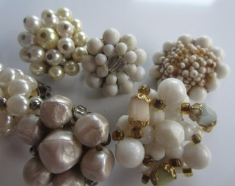 Vintage Shabby Chic lot of jewelry,  single earrings for embellishments, repurpose, lot of 6 white, (sept29)