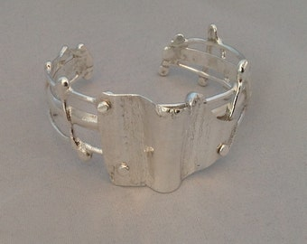 Sterling Silver Cuff 6 1/2 inches Fused Forged Polished Forge Folded Riveted