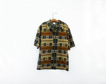 vintage 70s Mens Jantzen Geometric Print Mid Century Button Down Shirt // Mad Men Era // L
