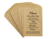 Rustic Wedding Menu Favor Bags - Vintage French Country Rustic Wedding Scripted Menu Favor Bags Treat Bags Kraft Bags