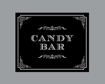 DIY Printable Candy Bar Sign -  Vintage Antique Victorian Cottage Chic Rustic Chalkboard Wedding Reception Candy Bar Sign