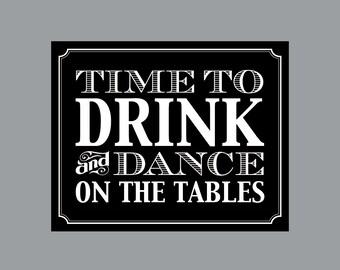 "DIY Printable Sign -  Vintage Antique Victorian Cottage Chic Rustic Chalkboard Wedding Reception ""Drink and Dance"" Sign 2"