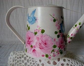 Watering Can Hand Painted Pink Roses Blue Birds Decorative Home Accent