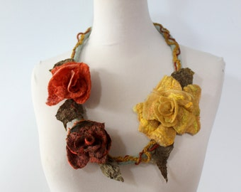Autumn Felted flower necklace  - yellow, orange and rust