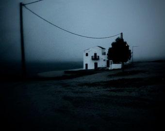 The poet's house, 6x6 fine art photograph, landscape, night scene