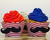 Mustache Cupcake Wrappers set of 12~ Baby Shower Decor, Little Man Baby Shower, Mustache Bash, , Mustache Baby,
