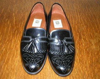 Bruno Magli Shoes Black Leather Kiltie Tassel Size 7M Mens Vintage Italian Virgil Loafers