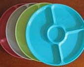 Vintage Gotham Ware Plastic Divided Plates Assorted Colors Set of Four Picnic Camping Dishes 1970s Made In USA Excellent Retro Condition