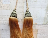 Vintage Metal Double Capped Bell Shaped Tassels Set of 2 Ornate Top Crowns Gold Dense Threads Braided Hanging Cord 1980s India Home Decor