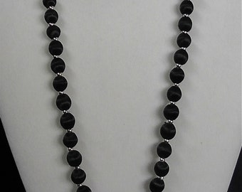 Vintage Black Silk Beaded Necklace