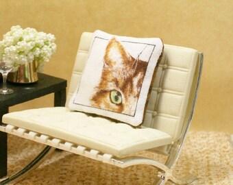Cat Pillow Tortie Tortoiseshell Green Eyed 1:12 Miniature Dollhouse Artisan