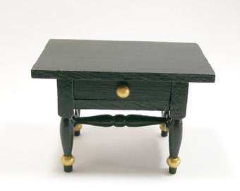 Black Gold Occasional Table Night Stand 1:12 Dollhouse Miniature Artisan