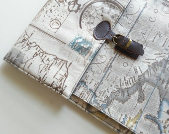 """iPad mini Case Cover Sleeve, made to order for 7-8""""  Tablet. Padded/Linen/Map."""