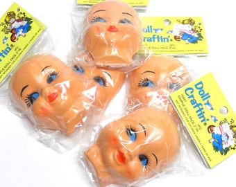 "5 creepy cute plastic Dimple Doll Faces . 3"" . vintage arts and craft supply . 1980s does 1950s . new in package"