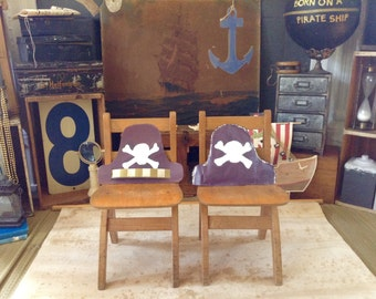 Little Pirate Vintage Table and Chair Set... Born on a Pirate Ship