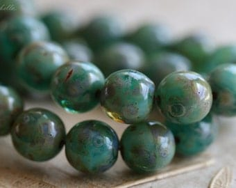 SEA BREEZE .. Picasso Czech Druk Glass Beads 8mm (4226)