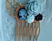 Blue Black Skeletina Small Cluster Hair Comb - Fascinator Kitschy Cool Offbeat Wedding Bride Skull
