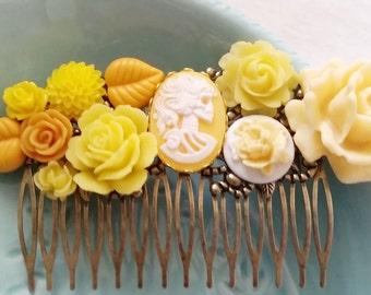 Golden Yellow Skeletina Cluster Hair Comb - Fascinator Kitschy Cool Pink Offbeat Wedding Bride Skull