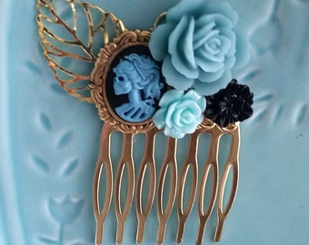 Blue Black Skeletina Small Cluster Hair Comb - Fascinator Kitschy Cool Offbeat Wedding Bride Skull