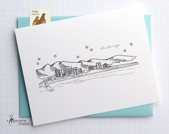 Anchorage, Alaska - United States - City Skyline Series - Folded Cards (6)