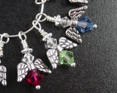 Swarovski Crystal 1 Mini Guardian Angel Wire Wrap Bead 6mm Bicone Dangle Drop Birthstones Silver Charm COLOR CHOICE (1019ang23-01)xz