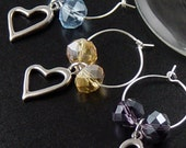 Wine Charms 6 Silver Heart Beads Stemware Glass Gifts Wedding Favors (1012win20s1)