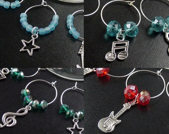 Wine Charms 6 Silver ROCK STAR Musical Instruments Music Star Guitar CHOICE Beads Stemware Glass Gifts Wedding Favors (1010win20s1)