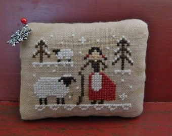 Completed Cross Stitch Winter Scene Pinkeep, Primitive Folk Art Pincushion, Christmas Farmhouse Decoration