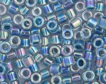 10 Grams Japanese Miyuki Delica 10/0 Beads - Light Blue Lined-Dyed - Round 2.2mm (DBM0-58)